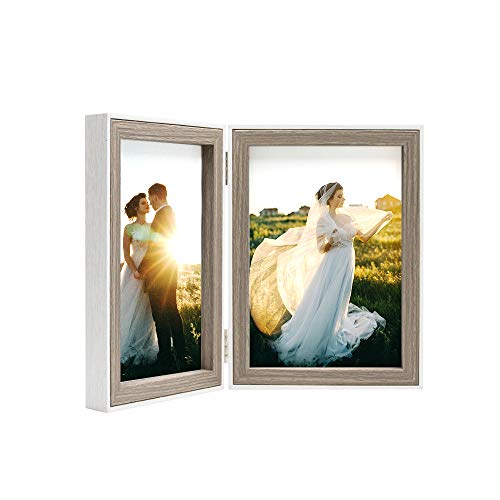 (Afuly 5x7 Double Picture Frame Hinged Rustic Photo Frames with White Thin Liner Vertically for Desk Table Wedding Gifts)