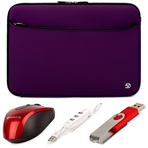 VanGoddy Neoprene Sleeve Cover for Dell Inspiron / Latitude / Vostro 14-inch Laptops + Red SumacLife USB Mouse + Red 4GB Thumbdrive + 3 Port USB Hub (Purple)
