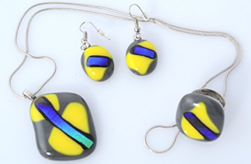Handmade Millet Glass Designs Fused Glass Pendant Necklace Earrings And Ring Set Unique Artistic (Handmade Fused Glass Pendant)