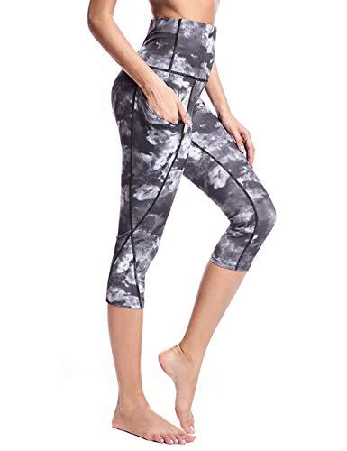 Rocorose Women's Sports Capris Printed Power Flex Side Pocket Dry-Fit Yoga Tights Pants Grey S