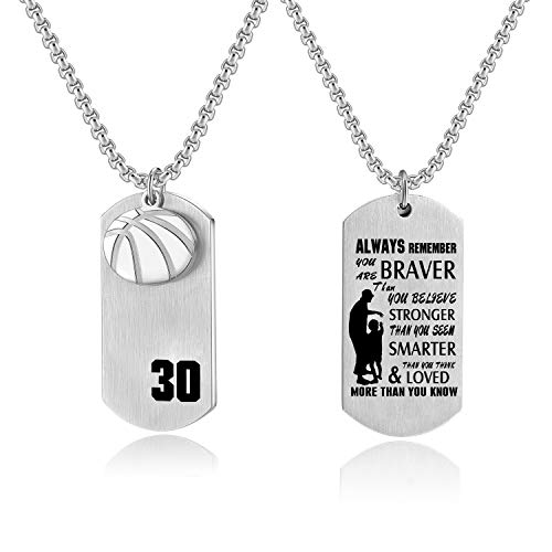 VI.SPORT Basketball Sport Player Number 30 Necklace Dog Tag Pendant Inspiring I Can Do All Things Jewelry (You are Brave)