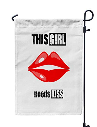 Musesh 12x18 Home Garden Flag,Kiss Graphics Slogan Isolated White Background Trendy Drawn Typography Web Site Label Poster Placard T Shirt for Home Outdoor Decorative with Double-Sided Printing