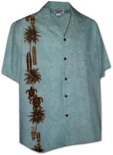 Hawaiian Tiki Panel Aloha Shirt Sky 2XL