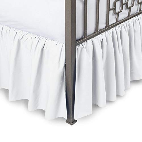 Ruffled Bed Skirt with Split Corners Three Side Coverage, Easy fit, Made Brushed Microfiber Full 12 Inches - White