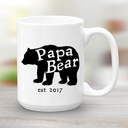 Papa Bear Est 2017 Ceramic Coffee Mug, 15 oz