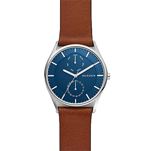 Skagen Watch Multifunction - Skagen Men's Holst Quartz Stainless Steel and Leather Casual Watch, Color: Silver-Tone, Brown (Model: SKW6449)