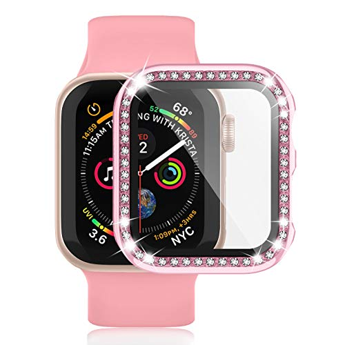 Waspo Apple Watch Case with iWatch Series 6/5/4/SE/3/2/1, Smart Watch Bumper Built in Tempered Glass Screen Protector for 38mm 40mm 42mm 44mm, Full Protective Diamond Frames for Women
