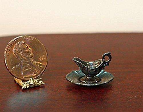 Multi Minis Dollhouse Miniature Dark Pewter Gravy Boat on Dish