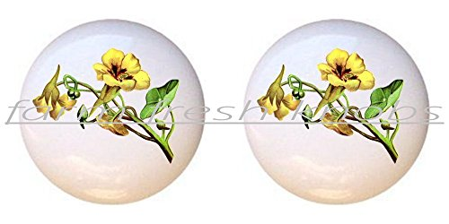 SET OF 2 KNOBS - Flower Yellow - Flowers Plants Flower Bouquet Floral - DECORATIVE Glossy CERAMIC Cupboard Cabinet PULLS Dresser Drawer KNOBS