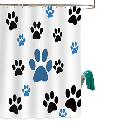 (Dog Paw Prints Waterproof Fabric Polyester Bathroom Shower Curtain with 12 Hooks 60