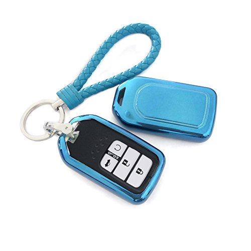 (Thor-Ind TPU Key Fob Skin Case Cover With Key Chain For Honda Accord Civic CR-V CR-Z HR-V Pilot Fit Odyssey Ridgeline Elysion Spirior 2 3 4 5 Buttons Smart KeyProtective Shell (TPU, Blue))