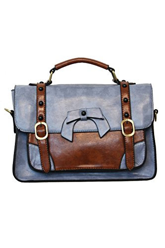 Banned Buckle With Bow Retro Handbag - 9 Colours - Light Blue / One Size