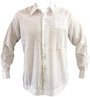 Guayabera Blanca Tradicional, Estilo Presidencial, Popelina Fina, Manga Larga, Camisa 65% poliéster, 35% algodón.: Amazon.es: Ropa y accesorios