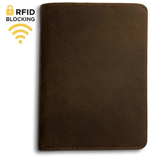 Leather Travel Wallet (RFID Blocking Passport Holder Travel Wallet - Genuine Crazy Horse Leather (Dark Brown))