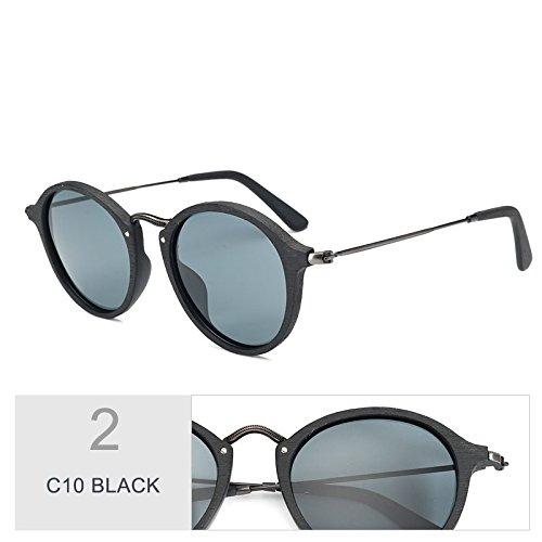 De Redondas C19 Similares Sol Gafas De BLACK C10 Unisex TIANLIANG04 Polarizadas Madera Azul Uv400 Gafas vSwgxqAtP4