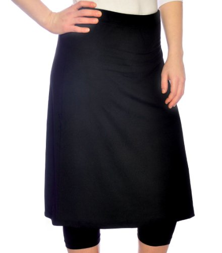 Kosher Casual Women's Knee Length Running Skirt With Leggings 2XL Black