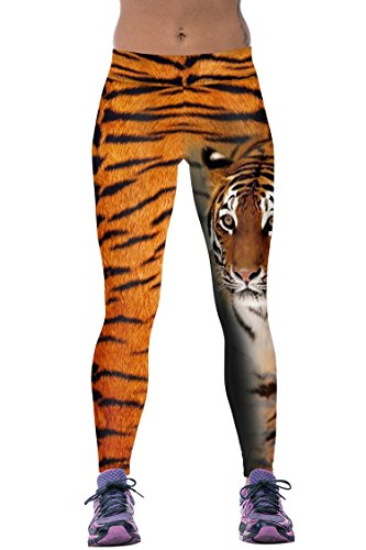 Timemory Womens vivid Tiger Patterned Active Traning Slim Tights One Size -