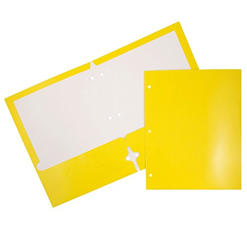 JAM Paper Laminated Two Pocket Glossy 3 Hole Punch Folders - Assorted Primary Colors - 6/pack by JAM Paper (Image #4)