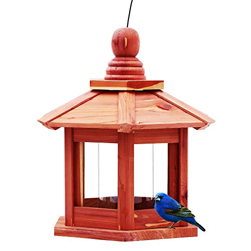 Homes Garden USA Cedar Bird Feeder Gazebo with Plastic Transparent Tube Lantern Wood Bird Feeder Hexagonal Pavilion Bird Feeder for Outdoors Yard Patio G-8527