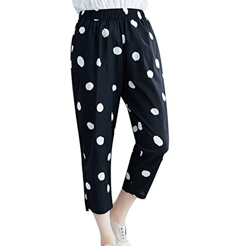JOFOW Womens Harem Pants Capri Polka Dots Print Two Tone Cotton Linen Loose Tapered Pleated Cigarette Crop Trousers