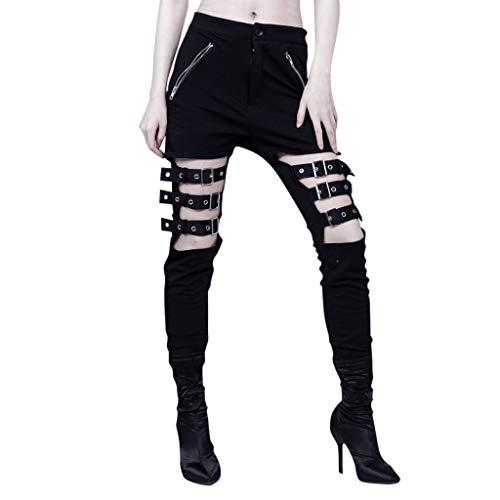 YKARITIANNA Women's Rock Pocket Zipper Buckle with Black Trousers Leggings