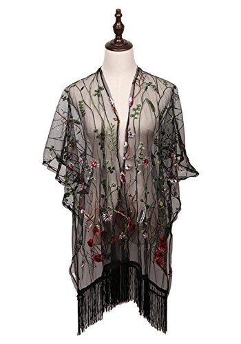 MissShorthair Women's Light Floral Embroid Lace Kimono Cardigan Coverup Blouse Tops - Lightweight Kimono