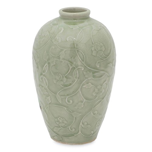 NOVICA Decorative Celadon Ceramic Vase, Green, Wildflower'