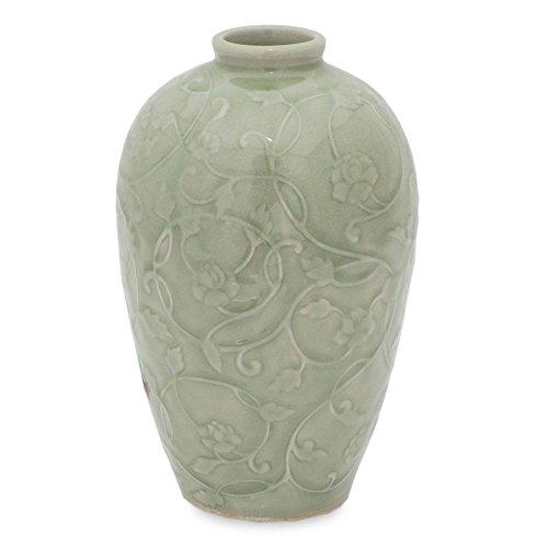 - NOVICA Decorative Celadon Ceramic Vase, Green, Wildflower'