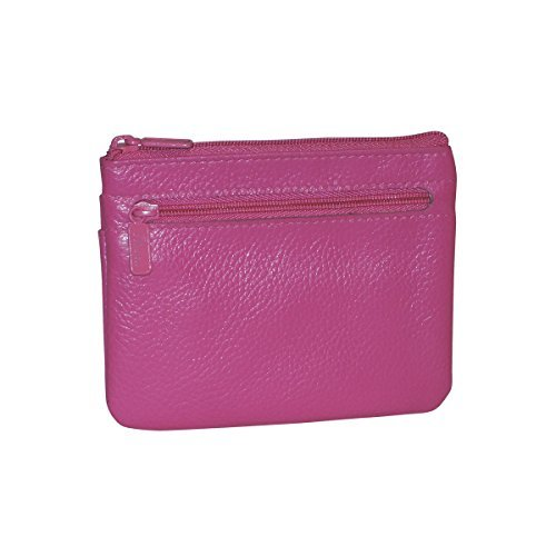 Buxton Womens Leather ID Coin Card Case Wallet, Fuchsia
