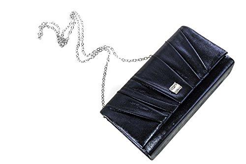 Bolso de mano mujer elegante GIANMARCO VENTURI Bolsa de noche azul strass N568