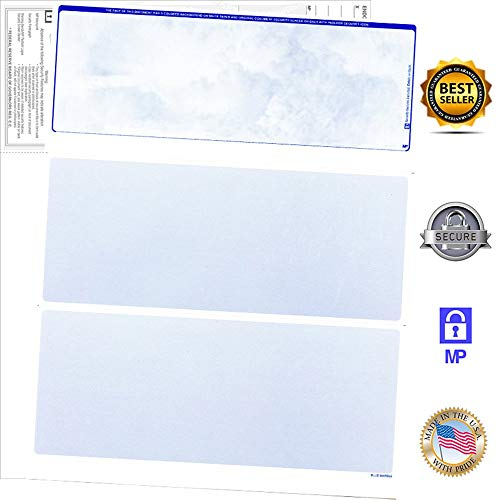 (200 Blank Check Stock-Check on Top-Blue Marble Pattern-Compatible with Quickbooks,Quicken,Versacheck and More-(200 Laser Security Sheets-8.5''x11'' #24)-Made in USA with Pride!)