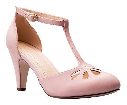 OLIVIA K Women's Low Heels Mary Jane Pumps - Adorable Vintage Shoes- Unique Round Toe Design With An Adjustable T Strap,Rose Pink,7.5 B(M) US