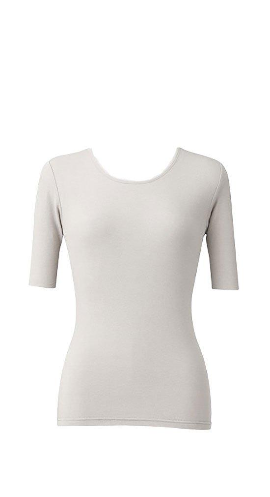 天使の綿シフォン レディース丸首5分袖 B074S37LGQ L|プラチナ プラチナ L