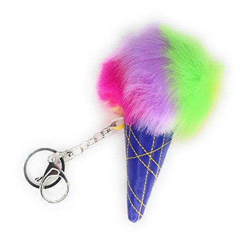 Plush Ice Cream Cone Keychain, Rainbow Fluffy Pom Pom Keyring Handbag Accessories (Blue Cone)