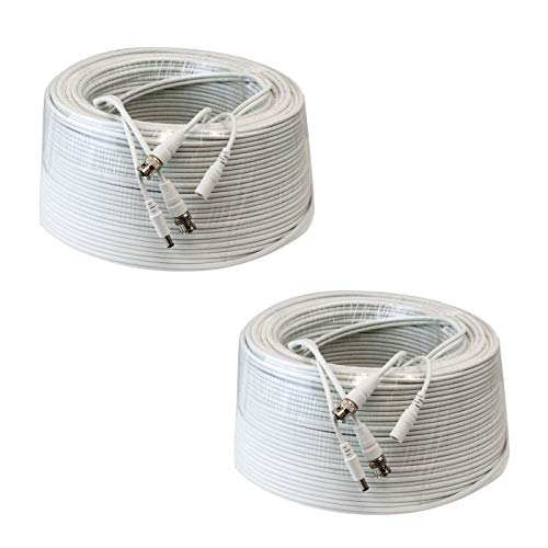 (2 Pack 200ft RG59 Siamese Combo 20AWG Power Video Coaxial Cable BNC 75Ohm 95% Braid Wire Cord for HD-SDI, AHD, TVI, CVI All CCTV Security Cameras with BNC Connector and 2.1mm Power Jack (White))