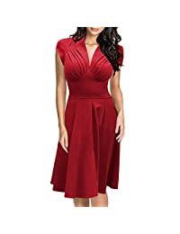 Women's 1940s Vintage Rockabilly Ball Gown Flared Dress Swing Skaters,Red,S