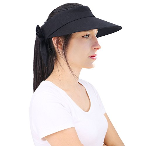 YoungLove Women's Wide Brim SPF 50+ UV Protection Sun Visor Hat,Black
