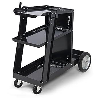 ARKSEN Universal Welding Cart for MIG TIG Plasma Cutter ARC Tank Storage, Portable -Black