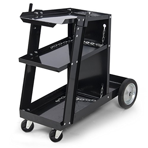 ARKSEN Universal Welding Cart for MIG TIG Plasma Cutter ARC Tank Storage, Portable -Black