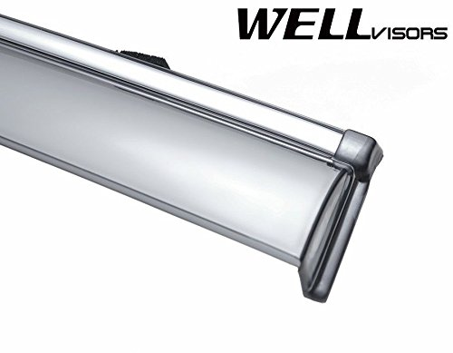 WellVisors Side Window Wind Deflector Visors Made for and Compatible with Honda Accord 4 Doors Sedan 13-up 2013 2014 2015 2016 with Chrome Trim