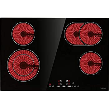 Electric Cooktop, ECOTOUCH Radiant Cooktop 4 Burner Smoothtop Electric Cooktop 30
