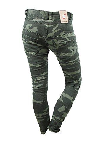 green pantalones Original vaqueros Botones Harén mozzaar NOVIO Camuflaje Holgado Militar Tubo mujer Skinny f7qwPd7