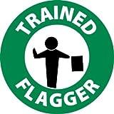 NMC HH112 2'' x 2'' PS Vinyl Hard Hat Emblem w/Legend: ''Trained Flagger'', 12 Packs of 25 pcs