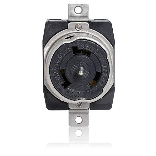 Non Nema Locking Flush Receptacle - Leviton CS6369 50 Amp, 125/250 Volt AC, Black & White Locking Flush Mount Receptacle, Industrial Grade, Grounding, California-Style, Black