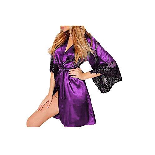 - NREALY PJ Women's Sexy Silk Kimono Dressing Babydoll Lace Lingerie Belt Bath Robe Nightwear (US-14/CN-2XL, Purple)