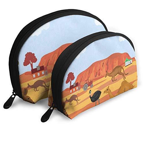 Makeup Bag Australia Kangaroo Ostrich Portable Half Moon Beauty Bags Storage For Women