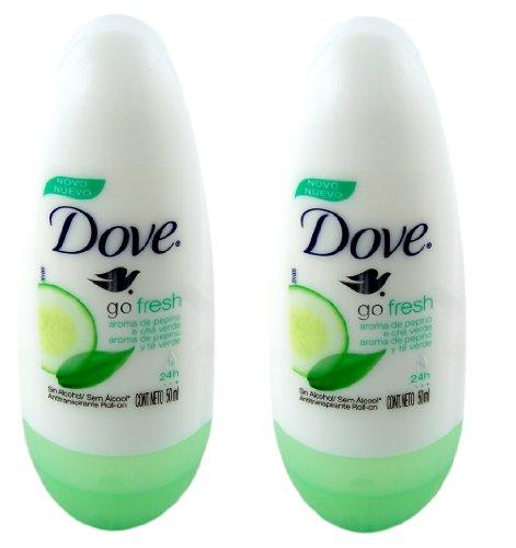 Dove Go Fresh Cucumber & Green Tea Scent Anti-perspirant Deodorant Roll-on 50ml (1.7 Fluid Ounce). (Pack of 2) - Go Fresh Cucumber Dove