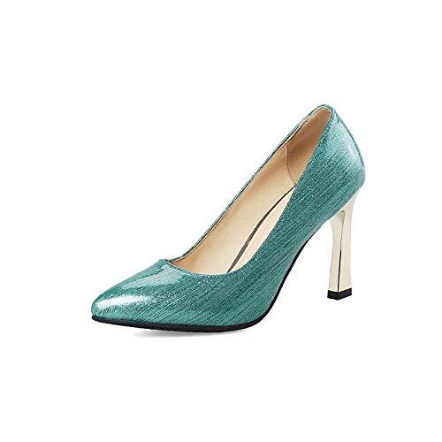 Negro Pump PU Tacón de Aguja Basic Poliuretano Mujer amp; púrpura de ZHZNVX Blue Punta Zapatos Azul Talones Estrecha Spring Fall pxq4zBw