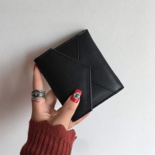 PALLDDY Nuova Versione Giapponese E Coreana Del Portafoglio Piccolo Semplice Femminile Breve Paragrafo Pieghevole Di Colore Solido Portafoglio Fibbia Portafoglio Moneta Mini Carta,Red Black