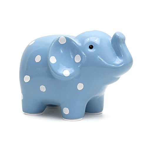 Boy Ceramic - Child to Cherish Ceramic Polka Dot Elephant Piggy Bank for Boys, Blue